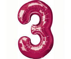AMSCAN - Palloncino a forma di numero 3, colore: Rosa