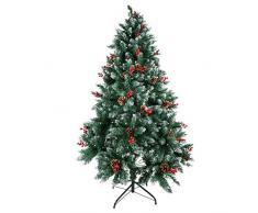 Kranich 1,8 m Albero di Natale + 15 m Luci Decorative con pigne e Bacche Rosse, Montaggio rapido incl. Supporto per Albero di Natale, Decorazioni Natalizie (1.8m)