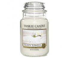 Yankee candle 1205376E Fluffy Towels Candele in giara grande, Vetro, Bianco, 10.1x9.8x17.5 cm