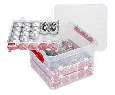 Sunware Q-Line, scatola di natale da 22 litri, con coperchio + inserto per 60 palle di Natale. Colore: trasparente/rosso