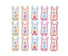 Amosfun 50Pcs Bottoni Coniglietto di Pasqua Bottoni Colorati in Legno Conigli 2 Fori Bottoni Artigianali per Cucire Animali Fai da Te Cucito Scrapbooking