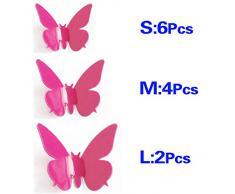 SODIAL (R) NEW 3D parete DIY della farfalla per la casa decorazioni della stanza 12 pz D4