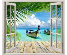 Stickersnews 5481 - Adesivo trompe l'oeil per finestra, soggetto: tropici, 120x105cm