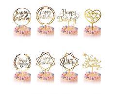 Decorazione per Torta Oro, 8 Pcs Happy Birthday Cake Topper per Ragazze Ragazzi Donne Uomo Decorazione per Torte Compleanno, Acrilico Cupcake Toppers per Bambini Compleanno Forniture Glitter Feste