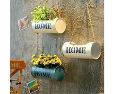 Subobo, fioriera da appendere, 2 pezzi, creativa, in ferro battuto, da appendere al muro o al balcone, decorazione da giardino, metallo, 2 Random Color, 29 x 13cm