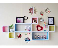 ufengke® 12 Pezzi 3D Fiori Adesivi Murali Fashion Design DIY Fiori Arte Adesivi da Parete Artigianato Decorazione Domestica, Effetto Specchio