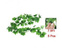 SODIAL (R) 5 Pz Vite foglia plastica verde Casa Nozze Feste decorazione 7.9Ft