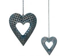 Grande portacandela lumino da appendere in metallo intagliato a forma di cuore Blu antico