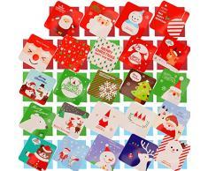 HOWAF 144Pezzi Mini Buon Natale Biglietti di Auguri Cartoline di Natale Nota Vuota Carta con Buste, Alberi di Natale Elk Calze Pupazzo di Neve Babbo Natale