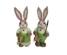 Ncbvixsw - Grazioso coniglietto in paglia, decorazione pasquale, per vacanze, giardino, matrimonio, 2 pezzi, decorazione divertente per feste e decorazioni per la casa m 6