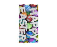 NaiiaN Hipster Lovely Art Colorate Uova di Pasqua Ospite Multiuso Assorbente per Bagno Home Hotel Palestra Spa Asciugamani Decorativi San Valentino Morbido Grande