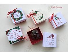 segnaposto natalizio personalizzato - scatolina natale con ciondolo e praline al cioccolato - addobbo natalizio