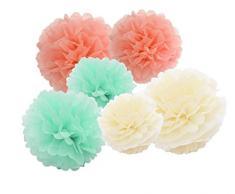 Hanging Carta Velina Pompon fiori di carta 12pcs 10 pollici 8 pollici rosa Haning decorazione palle compleanno Baby doccia matrimonio decorazioni FESTE Cream Mint Peach