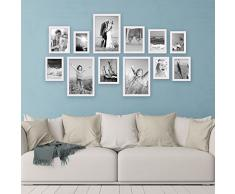Set da 12 cornici per foto, bianco, in legno massiccio, in stile country, 10x15, 13x18, 15x20 e 20x30 cm, accessori inclusi / cornici per foto
