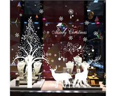 Natale Vetrofanie, 2pcs Adesivi Murali Merry Christmas, DIY Stickers da Vetro Finestra Vetrina Decorazione Natalizia per Casa Camerette Salotto Fai da Te (Bianco)