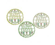 """Gisela Graham @ Occasions Direct - Set di 3 decorazioni pasquali in legno lavorato al traforo, con scritta """"Happy Easter"""" (""""Buona Pasqua"""", in inglese)"""