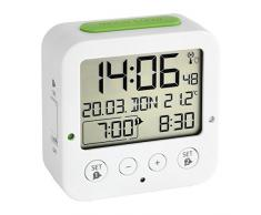 TFA Dostmann Radio Sveglia, Bianco/Verde, 3.3 cm x 8.1 cm x 8.1 cm
