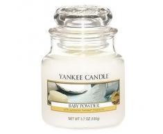 Yankee candle 1122152E Baby Powder Candele in Giara Piccola, Vetro, Bianco, 6.4x6x7.3 cm