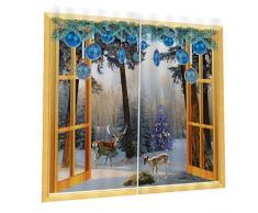 2x Natale Temporizzato Tende Per Porte Finestre Tende Per La Decorazione Natalizia - #02, 150x166cm