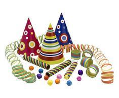 Riethmüller 550081 - Kit di accessori per feste (cappellini, stelle filanti, cerbottane e palline d'ovatta), per 5 persone