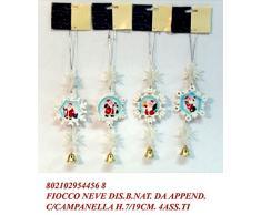 Idea natale: decorazione natalizia pendente fiocco di neve con babbo natale e campanella dorata set 4 pezzi