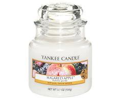 Yankee candle 1244683E Sugared Apple Candele in giara piccola, Vetro, Bianco, 6.4x6.2x8.6 cm