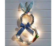 HanOBC - Ghirlanda pasquale per porta dingresso, con luci a LED, funzionamento a batteria, 19 x 10 cm, motivo: coniglietto pasquale