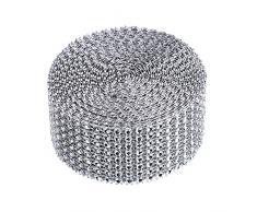 8 Riga 5 Yard Nastro Diamante Nastro Acrilico Nastro di Strass per Torte Matrimonio, Decorazioni di Compleanno, Baby Doccia Eventi e Progetti di Arti e Mestieri (Argento)
