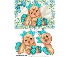 Coniglietto di Pasqua in cornice rosa con fiocchi di Nick Bowley