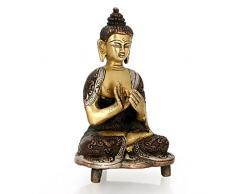 CraftVatika Dharmachakra-Tibetan Buddhism Buddha-Statua in bronzo A religiosa Statua decorativa, motivo: simbolo della pace in meditazione Harmony