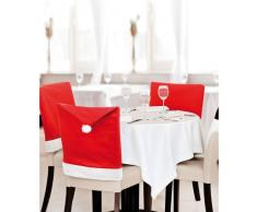 Coprsedia Natalizio Cappello di Babbo Natale rosso e Bianco, Confezione da 4, 6 o 8 - Rossa