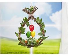 Corona pasquale con uova di Pasqua – Decorazione Pasqua – Corona di Pasqua – Decorazione – Pasqua – Coniglio di Pasqua – Decorazione – Corona – Fiore – Decorazione da appendere – Porta – Decorazione da finestra