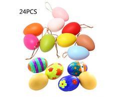 24 uova di Pasqua in plastica da appendere con corda e uova artificiali colorate, decorazione fai da te per albero di Pasqua da appendere, per regali per bambini, scuola, casa, ufficio, feste