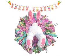 MZBZYU Decorazioni per Pasqua, Coniglio Ghirlanda Pasquali E Banner Decorativo, Decorazione Pasquale per Porta Dingresso E Finestra