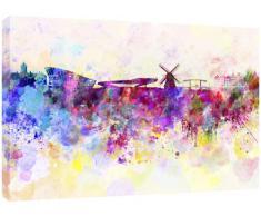 MOOL - Tela artistica da parete con stampa panoramica di Amsterdam ad acquerello, multicolore