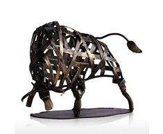 Tooarts Statue Decorative, Metallo Scultura in Ferro Intrecciato Bestiame Arredamento Per La Casa Articoli Artigianali Fatti a Mano