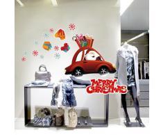"""RN00005 Adesivi Murali """"Babbo Natale a bordo"""" Vetrofanie natalizie - Misure 63x50 cm - Decorazioni vetrine per Natale, stickers, adesivi"""
