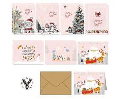 14 set di kit di biglietti dauguri per le vacanze di Natale in 7 esclusivi design rosa festivi per la stagione invernale