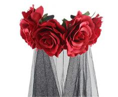Bloomma Fasce di Halloween, Fascia per Capelli Floreale con Fascia per Capelli Rosa per Halloween Costume,Cosplay,Pasqua,Decorazioni Natalizie