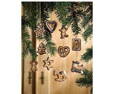 Frank Decorazioni per albero di Natale con biscotti di pan di zenzero in terracotta, confezione da 10 pezzi