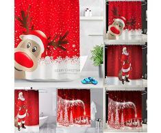 ZHAOZX Natale Babbo Natale Tenda da Bagno Decorazioni Natalizie per la casa Ornamenti Natalizi Regali di Natale Capodanno