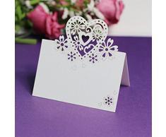 12 Love con cuore intagliato, compleanno, Natale, decorazione da tavolo per matrimoni, segnaposto, colore: viola Bianco