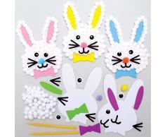 Baker Ross AX763 Kit Pompon Coniglietto Pasquale - confezione da 5 - Creativi Articoli Pasquali e Artigianali per Bambini da Realizzare e Decorare