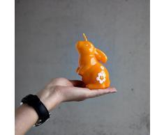 Coniglietto pasquale in piedi lucido laccato arancione bella regali