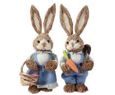 2PCS Decorazioni Pasquali Coniglio, Coniglietto in Abito Floreale, Coniglio in Paglia per Regalo Pasquale, Regalo Creativo di Pasqua per Bambini Amici