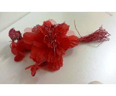 Set 12 pezzi fiore pick bocciolo ortensia, x applicazione albero di NATALE, segnaposto tavolo, panettone, LAUREA, DIPLOMA. (amop15b)