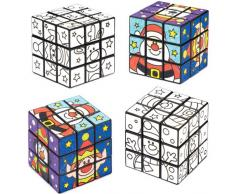 Cubi Puzzle Amici Natalizi da Colorare per Bambini, Giochi e Giocattoli per Bambini Piccoli per Un Natale Perfetto (Confezione da 2)