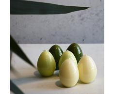 Set Dekoei uovo di Pasqua Oster candele 60 X 45 mm Verde Candele Pasqua