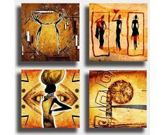 Quadri Moderni ETNICO 4 pezzi 30x30 cm arte africa africana Sole Stampa su Tela Canvas Arredamento Astratto XXL Arredo soggiorno salotto camera da letto cucina ufficio bar ristorante