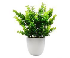 OFFIDIX Mini plastica Piante di eucalipto Artificiale con Vaso per scrivania da Ufficio, casa e Regalo degli Amici Pianta Finta con vasi di plastica per la Decorazione Domestica (Grande Formato)